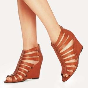 JustFab Chasey strappy wedge heel in cognac